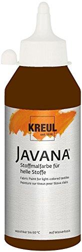 Kreul 91318 - Javana Stoffmalfarbe für helle Stoffe, 250 ml Glas in dunkelbraun, geschmeidige Farbe auf Wasserbasis mit cremigem Charakter, dringt fasertief ein, waschecht nach Fixierung