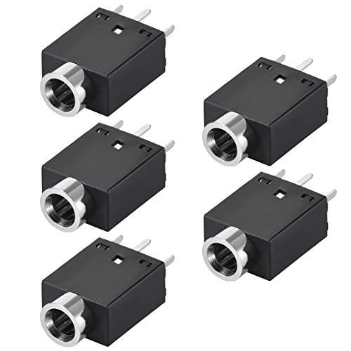 sourcing map Montaggio circuito stampato 3,5 mm 5 Perno femmina stereo cuffie Connettore Video PJ358 Nero 5pz