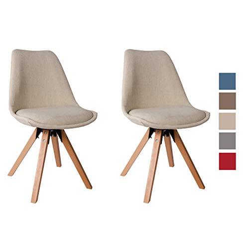 Duhome 2er Set Stuhl Esszimmerstühle Küchenstühle Farbauswahl mit Holzbeinen Sitzkissen Esszimmerstuhl Retro 518M, Farbe:Creme, Material:Stoff
