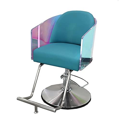 FLAMY Sillon barbero,Silla de barbero hidráulica, acrílico, Cromado,Silla giratoria de 360°,Utilizada para la Silla de Tatuaje de SPA de salón,Equipo de Belleza,Dormitorio,Color Degradado