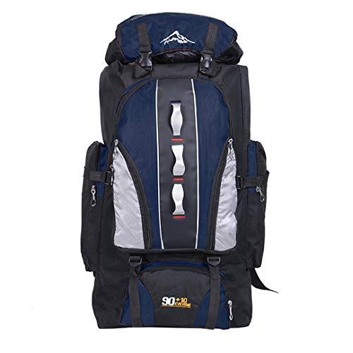 90+10L Outdoor Capacity Travel Fishing Hiking Backpacks Waterproof Sports Rucksack Climbing Bags Dark Blue