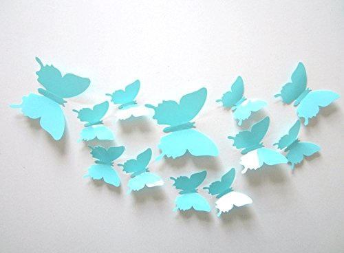 Clest F&H 12pcs 3D Art Butterfly Decal Wall Sticker Home Decor Room Decoration Christmas Gift (Light Blue)