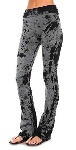 URBAN X Women's Tie Dye Yoga Pants Made in USA (Large, Black Smoke)