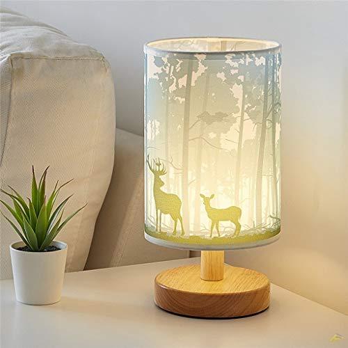Metdek Lámpara de mesa de madera nórdica, de tela, para dormitorio, decoración nocturna, de tela, lámpara de escritorio, salón, decoración del hogar (D)