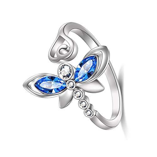 litulituhallo Anillo de plata de ley con diseño de libélula, para mujer