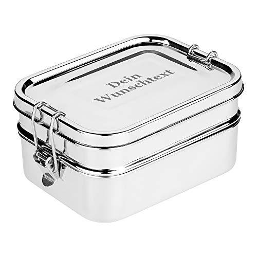 DeinGut XXL Edelstahl Lunchbox Eco mit Wunsch-Gravur I Große Brotdose I 3-teilig I 1700 ml I Bento Box I Geschenk Edelstahldose I Schule I Arbeit I Wandern I Reisen I Outdoor
