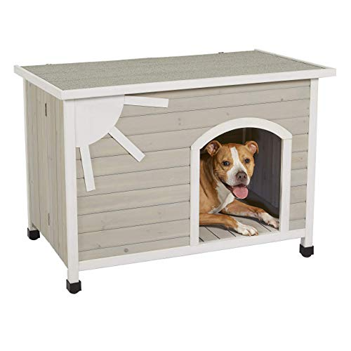 MidWest Homes for Pets Eillo Folding Outdoor Wood Dog House, No Tools Required for Assembly | Dog House Ideal for Medium Dog Breeds, Beige (12EWDH-M)