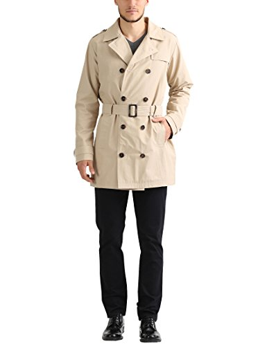James Tyler Trench Coat con Cintura Uomo, Beige, XL