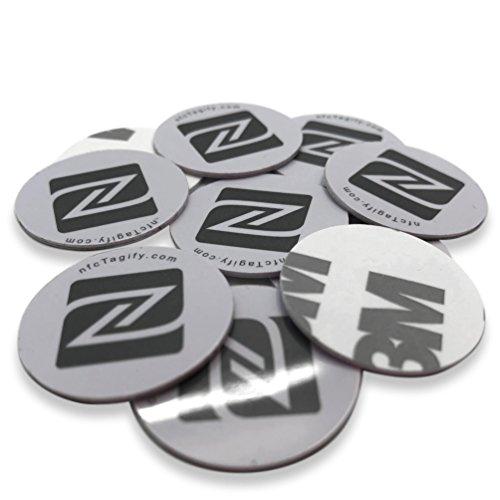 10 x NFC Tags   NXP Chip NTAG213   144 Bytes Speicherkapazität   Aufkleber, Rund Disk   Weiß Label Tag    Hart-PVC und starker 3M-Kleber   Elegantes Design und Hohe Scankraft
