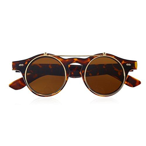 Gafas de Sol clásicas Steampunk Goth Gafas de Sol Redondas abatibles Gafas Redondas (Leopardo)