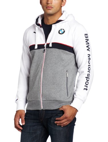 PUMA Men's BMW Hooded Sweat Jacket, White, Small