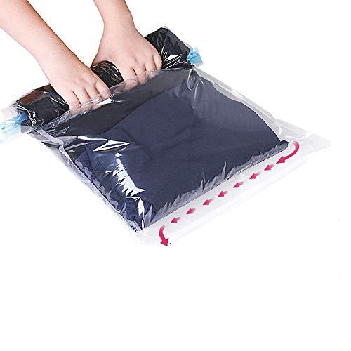 GQC12 TLG Set Reise Vakuumbeutel, Suob 2 Größen (60x40cm, 50x35cm) Vakuum Aufbewahrungsbeutel zum Rollen für Kleidung, Decken, Handtücher,Rollen per Hand I ohne Staubsauger (4(60x40cm) 4(50x35cm))