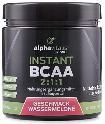 Instant BCAA Pulver mit leckerem Geschmack - 100% vegan - essentielle Aminosäuren (Wassermelone, 300g)