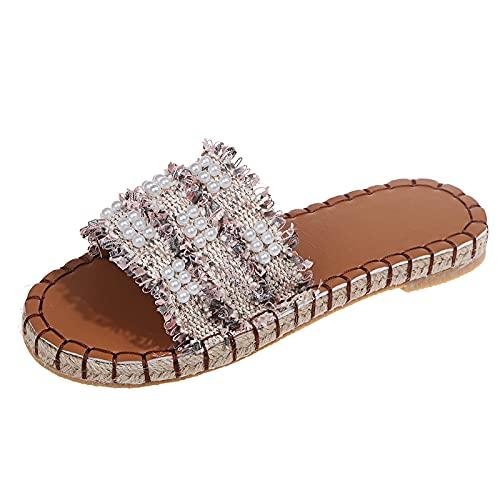 Zapatos para mujer Nuevo patrón Perla Cuerda de cáñamo Tejido Zapatillas de plataforma de pastel de esponjaPantuflas de cuña de mujer con tacón