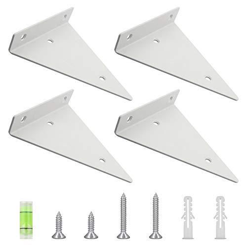MOROBOR Soporte de estante, 4 piezas de hierro invisible de triángulo negro, resistente de montaje en la pared, soporte flotante para estantes en cocina y jardín de estudio (130 × 140)
