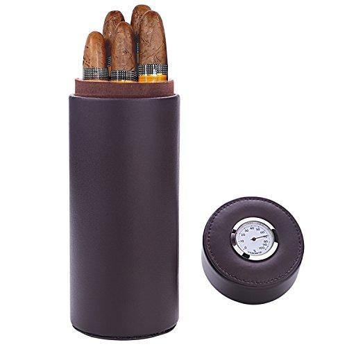 Caja de puros, madera de cedro forrado de cuero con humidificador de puros humidor portátil de viaje (Marrón)