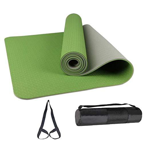 Yoga Mat, TPE Non-Slip Pro Yoga Mats for Women and All Yoga Lovers, Pilates&Floor Exercise (Grass green + gray)