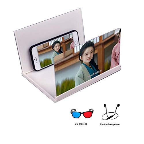 XYHWZY 8 Screen Magnifier for Mobile Phone 3D Foldable with 3D Glasses Enlarger Screen HD Movie Video Screen Amplifier Protect Eyes with Practical Phone Bracket
