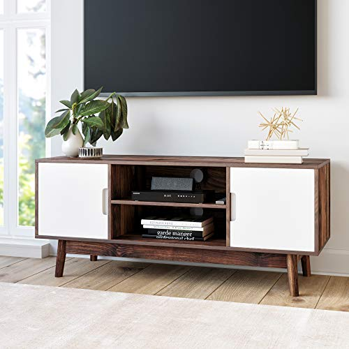 Nathan James Wesley Scandinavian TV Stand Media Console with Cabinet Doors, Brown/White