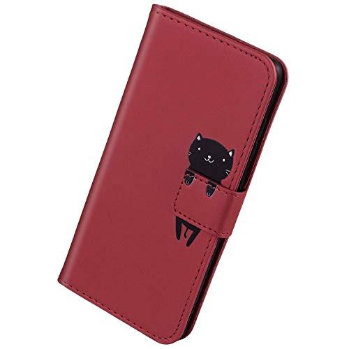 Herbests Kompatibel mit Samsung Galaxy S10 Handyhülle Leder Hülle für Jungs Männer Cute Cartoon 3D Tier Muster Leder Schutzhülle Flip Case Brieftasche Hülle Klapphülle,Katze Rot