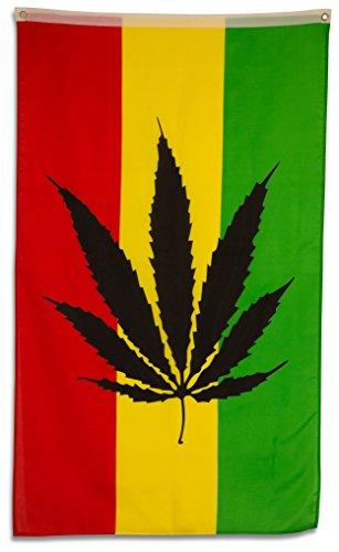 SCAMODA Party-, Freizeit- und Motiv-Flaggen aus wetterfestem Material, Outdoor-Fahne (Marihuana) 150x90cm