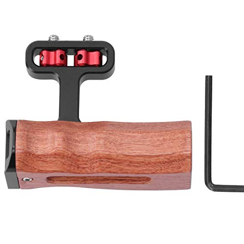 DAUERHAFT Side Wooden Handle Grip, Ergonomic Design, Support Left and Right Hand Use, Universal Camera Video Cage, Aluminum Alloy and Wood Material, with Cold Shoe Mount 1/4in Screw Hole