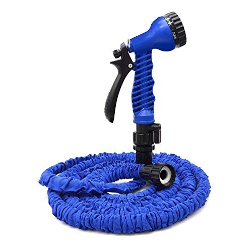 ActionEliters Expandable Garden Hose with 7 Function Hose Nozzles with Double Latex Core Extra Strength Lightweght Fabric Flexible Expanding Hose (25ft, Blue)