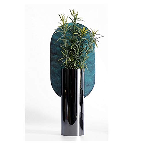 jinyi2016SHOP Maceta Interesante Acero Inoxidable florero Decorativo, florero Verde Set (2), TV Gabinete Decoración, Cocinas con Agujero De Drenaje Macetas (Size : A)