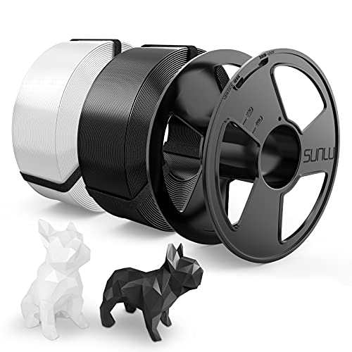Filamento PLA 1.75mm, SUNLU PLA Filamento Impresora 3D, Reutilizable Spool, MasterSpool, Filamento Refill es Fácil de Reemplazar, PLA 2KG, 1kg Spool, 2 Paquete, Negro+Blanco