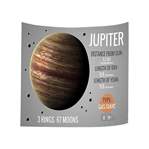 Xmiral Tapisserie Planet des Sonnensystems Yogamatte Picknickdecke Wandteppich Wanddeko 150X200cm(D)