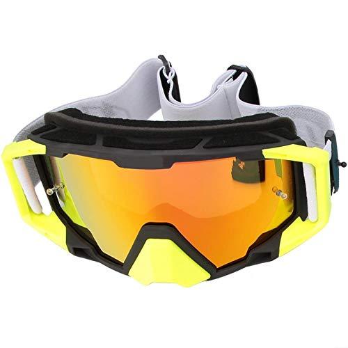 KUIDAMOS Gafas de Motocicleta Función de ventilación de Escape Que lo Protege de lastimarse Buena Correa de Cabeza Antideslizante Ajustable antiimpacto por el Viento,(Black and Yellow)