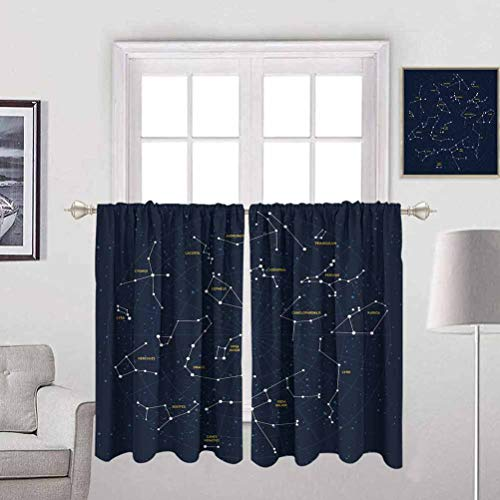 Becanbe Wear Pole Curtains W 55' x H 47',for Cafe Curtains Constellation,Sky Map Andromeda Lacerta Cygnus Lyra Hercules Draco Bootes Lynx,Dark Blue Yellow White