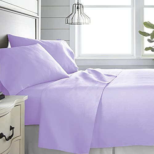 Monkey House | Set completo letto tinta unita, Made in Italy, 100% cotone – singolo, matrimoniale, una piazza e mezza (Glicine, Matrimoniale)