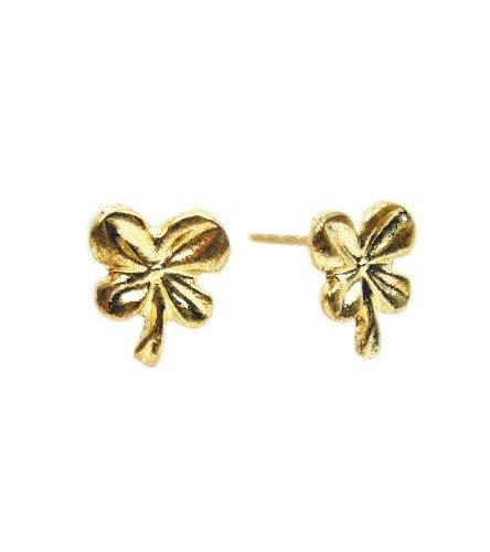 TdZ Classic Bronze Gold Metallic Luck Clovers Earrings