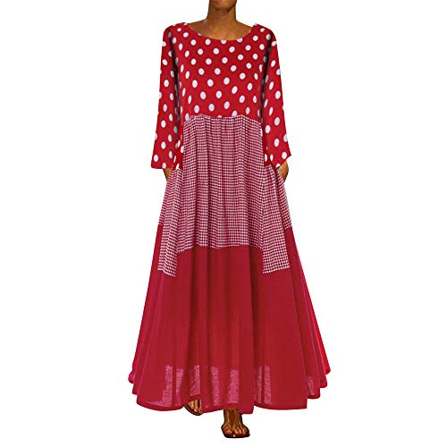 Aniywn Oversized Dress Women's Sleeveless Casual Print Floral Loose Party Long Dress Plus Size Red P