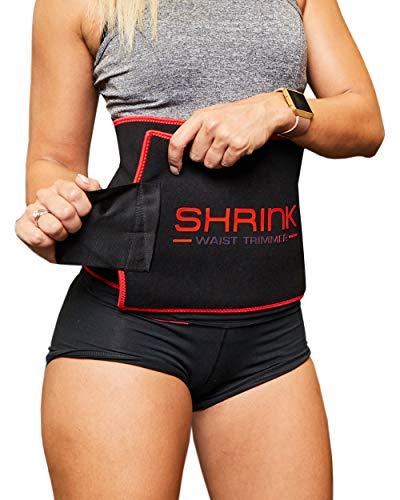 Shrink hochwertiger Neopren Bauchweggürtel für Damen und Herren - Schwitzgürtel zur Anregung der Fettverbrennung und Muskelstimulation - Praktischer Fitnessgürtel und Bauchgurt