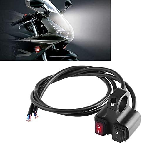 Interruptor de manillar, 12V 16A CNC Aluminio Motocicleta Moto Manillar Faro Faro de encendido y apagado Interruptor doble, apto para la mayoría de las motocicletas