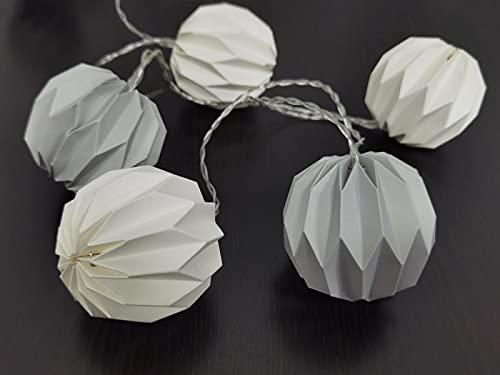 Guirnalda interior con 10 farolillos de origami blanco y gris claro LED blanco cálido