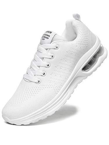 JIANKE Zapatillas Deportivas Mujer Zapatos de Ligero Cojín de Aire Transpirables Moda Running Fitness Caminar Blanco 39 EU
