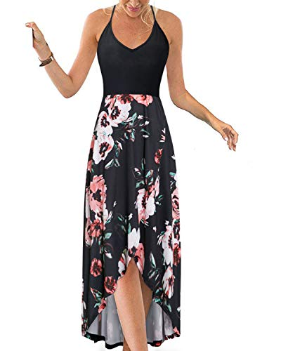KILIG Women's V Neck Sleeveless Casual Summer Sundresses Asymmetrical Patchwork Floral Maxi...
