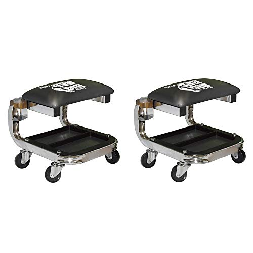 Torin Big Red TR6340 Padded Rolling Creeper Garage Shop Seat Stool (2 Pack)