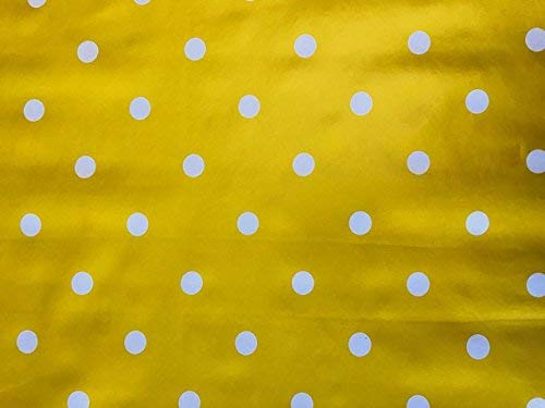 linen702 Vinyl Pvc Tablecloth Mustard/Yellow Polka Dot 54 inch Round (137cm) 4 Seater Size Table, Wipe Clean, Textile Backed Plastic Circular Table Cloth (272)