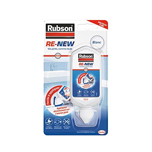 Rubson RE-NEW Blanc (1 x 80ml), mastic sanitaire blanc à base de silicone, s'applique sur le joint déjà existant, mastic étanche & anti-moisissures