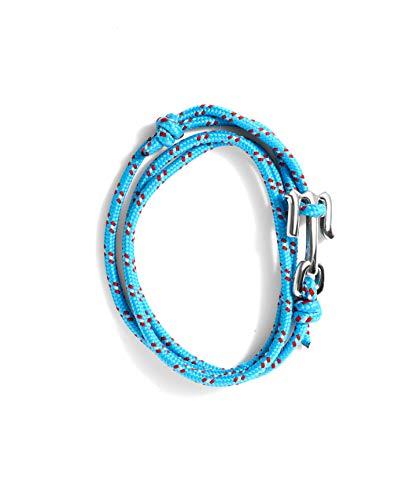 Wahou – Pulsera de Cabo con Cierre Metálico con M de Mahou – Color Azul Flúor