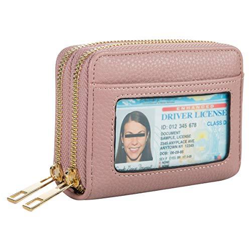 Heaye Card Case Women Wallet RFID with ID Window Zipper Small (Mauve)