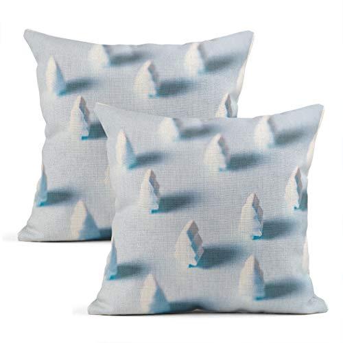 Meowjoy Set di 2 federe per cuscino in lino blu albero di natale caramella verde natale federe per auto divano camera da letto decorazione per la casa regali per amici familiari 61 x 66 cm
