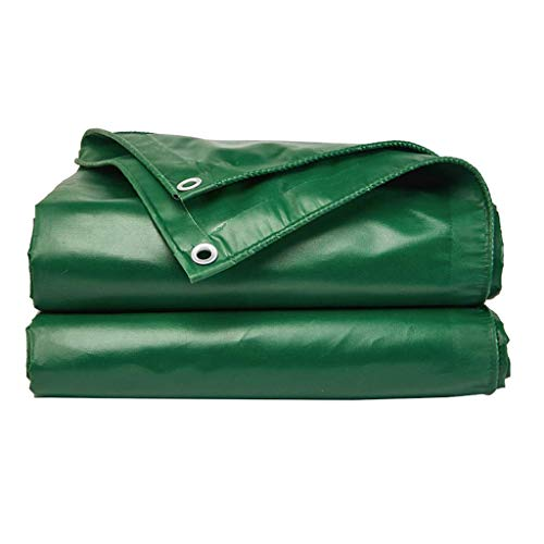 HQQ PVC Rainproof Tarpaulin with Eyelets, Covering for Garden Furniture Wood Car 450g/m² Green (Size : 4x4m)