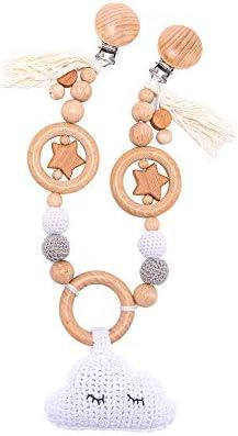 Organic Wooden Stroller Pendant Crochet Cloud Pendant Sensory Wooden Star Beads Pram Chain with product image