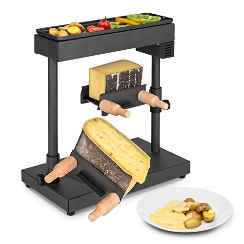 Klarstein Appenzell XL - Raclette et gril, 600 W, thermostat, élément chauffant en inox, zone de gril sur le dessus, 2 x porte-fromages: réglable en hauteur/rotatif/inclinable, noir