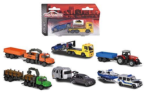 Majorette Trailer Assortment, véhicule Die-Cast, boîte de Collection, pneus en Caoutchouc, Roue Libre, 6 assortiments, 212053154, Multicolore